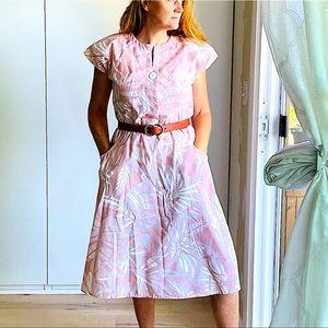 Summer Dress Vintage 80s Dress, Pink Pastel M